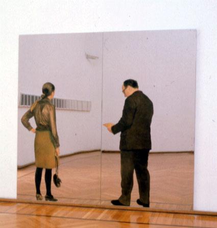 Un'opera di Michelangelo Pistoletto: Visitatori, 1968